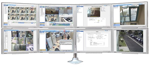 Surveillance monitor wall with security camera views